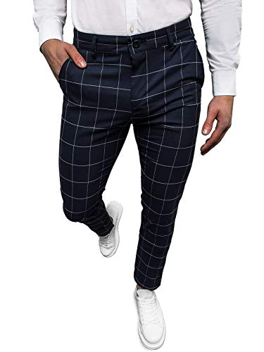 OZONEE Herren Chino Hose Chinos Stoffhose Chinohose Anzughose Anzug Herrenhose Röhrenhose Pants Elegant Business Slim Fit Regular Klassisch Classic Basic DJ/5505 BLAU W33