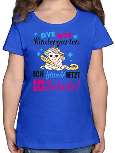 Einschulung und Schulanfang - Ich Glitzer jetzt in der Schule Einhorn mit Schultüte - Fuchsia - 128 (7/8 Jahre) - Royalblau - zur Einschulung für mädchen - F131K - Mädchen Kinder T-Shirt