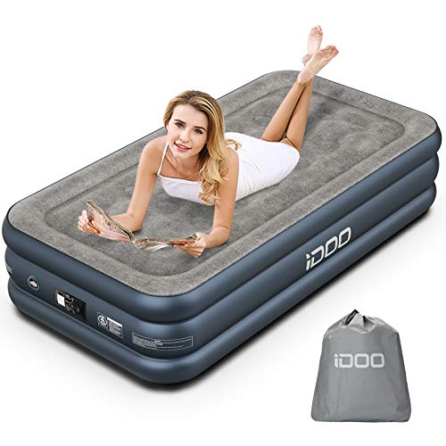 iDOO Air Mattress, Inflatable Airbed with Built-in Pump, 3 Mins Quick Self-Inflation/Deflation, Comfortable Top Surface Blow Up Bed for Home Portable Camping Travel, 75x39x18in, 550lb MAX (Twin)