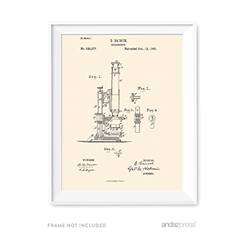Andaz Press Patent Print Wall Art, Career Professions Vintage Ivory Collection, Doctor Surgeon Scientist Microscope, 1-Pack, Christmas Birthday Gift Idea, Unframed