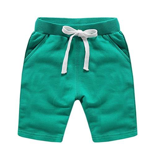 ALLAIBB Shorts de Coton Unisexe pour bébé d'été décontractés élastiques pour bébés Enfants (Color : Light Green, Size : 150)