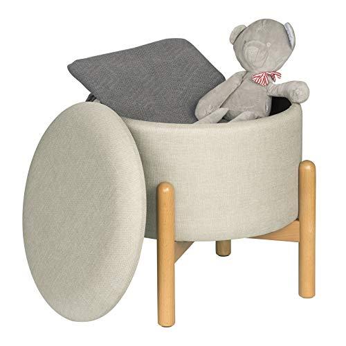 EUGAD Sitzbank Sitztruhe runde Sitzhocker mit Stauraum Polsterhocker, Gestell aus Massivholz, ca.16,5L Sitztruhe Aufbewahrungsbox Deckel abnehmbar, Kinderleichte Aufbau, Cremeweiß 0049DZ