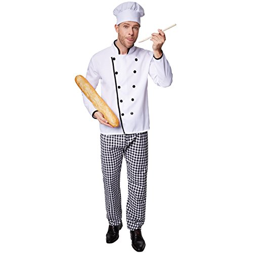 dressforfun Disfraz de Cocinero Famoso para Hombre | Chaqueta de Chef Bien trabajada | Pantalones de Cuadros a Juego | Incl. Gorro de Cocinero (XL | no. 301541)
