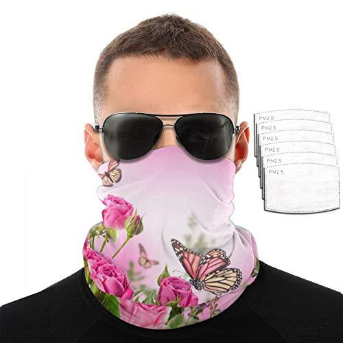 Flower Decor - Toalla de cara con mariposas volando sobre la rosa rosa para hombres y mujeres, deportes al aire libre, resistente al viento, transpirable, variedad de toallas, color Con 6 filtros., tamaño talla única