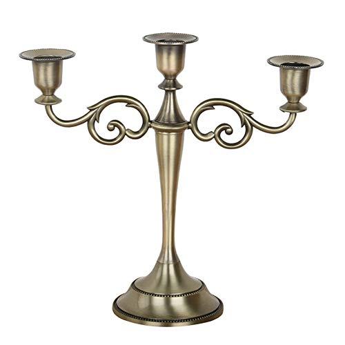 DaoRier Kerzenständer 3-armig Bronze Kerzenhalter, Hoch 27 cm,für Hochzeit Kerzenleuchter Abendessen Leuchter Kandelaber Dekoration