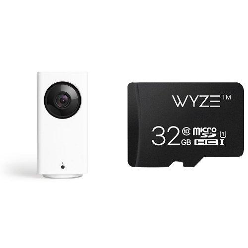 Wyze Cam Pan 1080p Pan/Tilt/Zoom Indoor Smart Home Camera with Wyze 32GB MicroSD Card Class 10