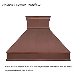 """SINDA Natural Beautiful Copper Kitchen Hood, Handcrafted by Skilled Artisan, Comes with High Air Flow Motor Fan, 42""""Wx39""""H, Smooth-Antique Copper, Island Mount, H10B-SCI4239 1 SIZE: Island Mount 42""""Wx39""""H.The width of an island mount copper range hood should be 3-6 inches wider than the cooktop. And the height range between your cooktop and the copper range hood should be from 30 to 36 inches. We suggest a height of 36 inches for an island mount. Custom sizes available upon request by email. Material: 16 gauge pure virgin copper. PATINA&TEXTURE: Smooth; Antique Copper. Want to touch a real finish? You may click on this link: https://www.amazon.com/dp/B07Q3FS4NQ. BASIC EQUIPMENT: Stainless Steel 304 Vent with Liner and Internal Motor, Reusable Baffle Filter, Grease Channel, Yellow LED lights(3W 12V) and 4-Speed Control; Powerful Airflow Fan: (30""""/36""""W: single motor, 610 CFM, 6"""" round duct; 42""""/48""""W: dual motors, 960CFM, 8"""" round duct); Ductless and remote blowers with In-line liner options available upon request by email;"""