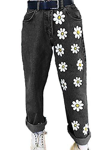 CORAFRITZ Damen High Waist Straight Wide Leg Daisy Printed Denim Hose Jeans Gr. XXX-Large, Schwarz