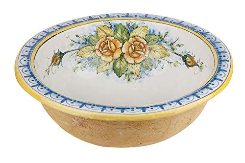 Cerames Mazzo di fiori - Italienische dekorative runde Spüle aus Keramik, in traditionellen Mustern bemalt. Waschbecken oder Küchenspüle mit einem Durchmesser 46cm