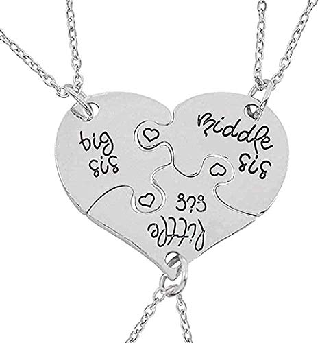 Necklace for Women Men Necklace Best Friend 3 Pieces Love Heart Sister Necklace Women Big Little Sister Mother BFF Necklaces Pendants Family Jewelry Length 50CmPendant Necklace Girls Boys Gift