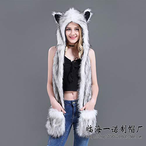 geiqianjiumai Explosieve modellen faux bont pet cartoon dierlijke hoed sjaal handschoenen een