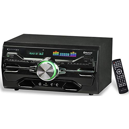 Technical Pro 4000 Watts Professional Bluetooth Home Audio Receiver w/ Built-in DVD Player, Dual 1/4'' Mic and USB SD Inputs, Volume and Echo Controls, Remote Included, for Karaoke, Parties and More