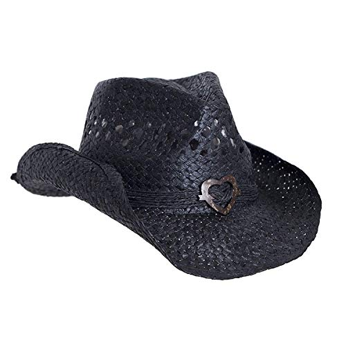 SADDLEBACK HATS Vented Straw Cowboy Hat w/Wood Heart Band –Shapeable Cowgirl Western (Black)