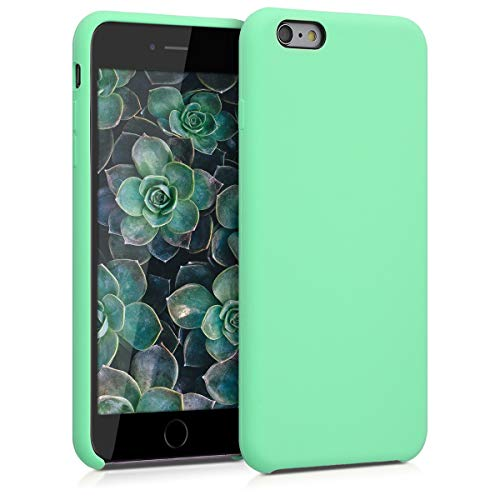 kwmobile Carcasa Compatible con Apple iPhone 6 Plus   6S Plus - Funda de Silicona para móvil - Cover Trasero en Verde Menta