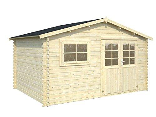 Gartenhaus Ulmus U14 naturbelassen - 28 mm Blockbohlenhaus, Grundfläche: 10,70 m², Satteldach