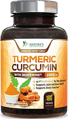 Turmeric Curcumin with BioPerine 95% Curcuminoids 1950mg with Black Pepper for Best Absorption, Made in USA, Most Powerful Joint Support, Turmeric Supplement by Natures Nutrition - 180 Capsules