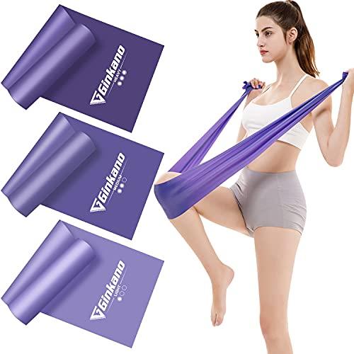 Haquno Bandas de resistencia en 3 grosores, banda de entrenamiento, musculación, yoga, pilates (2 m), color morado