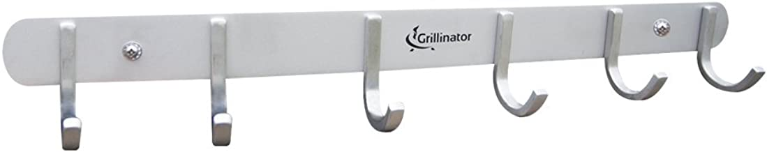 Grillinator BBQ Tool Rack - Polished Stainless Steel 6 Hook Storage for Grilling & Cooking Utensils - Easy to Install - Gas, Charcoal & Electric Grills - Indoor or Outdoor Use