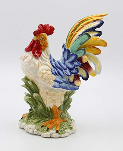 Fine Ceramic Colorful Country Rooster Figurine Multi Colors, 10 7/8' H