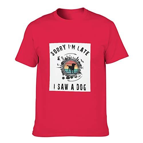 Zhcon - Camiseta de algodón para hombre, diseño de texto 'Sorry I Am Late I Didnt Want to Come divertido y elegante de manga corta