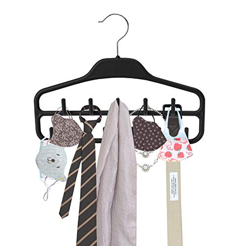 ROSOS Belt Hanger Holder Organizer 2 Pack Non Slip Belt Rack with 360 Degree Swivel Hooks Sturdy Tie Hanger for Closets Storage Ideal for Belts Ties Tank Tops Scarves Masks and More Black
