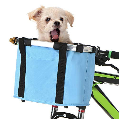 Lixada Bike Basket, Folding Small Pet Cat Dog Carrier Front Removable Bicycle Handlebar Basket Quick Release Easy Install Detachable Cycling Bag Mountain Picnic Shopping