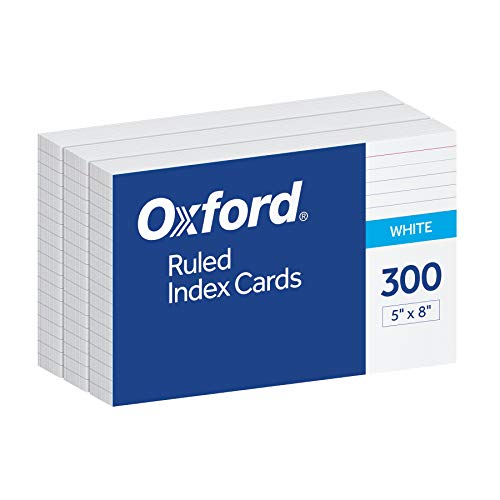 "Oxford Ruled Index Cards, 5"" x 8"", White, 300 pack (10003EE)"