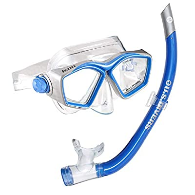 U.S. Divers Icon Mask & Airent Snorkel Combo. Easily Adjustable Snorkeling Combo for Adults, One Size Fits Most