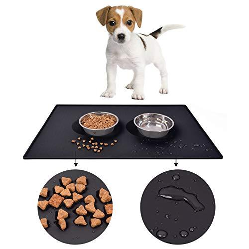 Auzkong Silikon-Haustier-Futtermatte, wasserdicht und schmutzabweisend, rutschfeste Silikon-Hunde-Futtermatte, Katzenfuttermatte, Auto-Silikon-Haustiermatte 1 STK (80 x 60 cm, Schwarz)