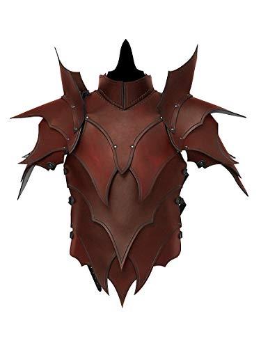 Andracor - Martialische handgefertigte Lederrüstung mit Schultern und Klingenbrechern - Braun - LARP Mittelalter, Fantasy & Cosplay