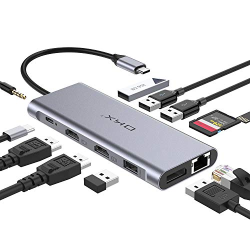 USB C Docking Station, USB C Hub, OKX 13 in 1 Triple Display with 65W PD Charging, 2 HDMI, DP, USB-C Date Transfer, 3 USB 3.0 Ports, 2 USB 2.0 Ports, SD/TF Readers for MacBook Pro and Type C Laptops