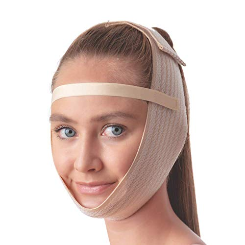 Post Surgical Chin Strap Bandage for Women - Neck and Chin Compression Garment Wrap - Face Slimmer, Jowl Tightening, Chin Lifting (Beige)