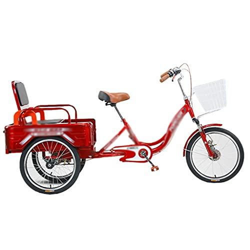 Triciclo para Adultos Bicicleta 3 Ruedas 20 Pulgadas Crucero Carga 1 Velocidad Plegable para Ejercicio Picnic Compras Recreativas (Color : Red)