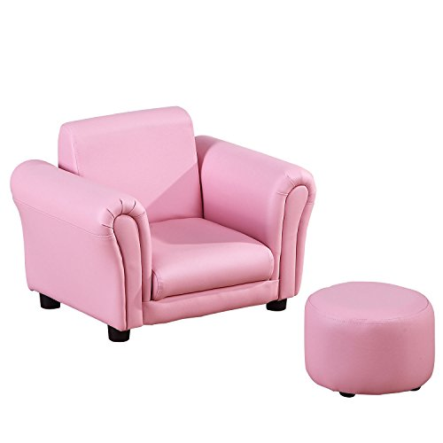 HOMCOM Single Seater Kids Sofa Set Children Couch Seating Game Chair Seat Armchair w/Free Footstool (Pink)