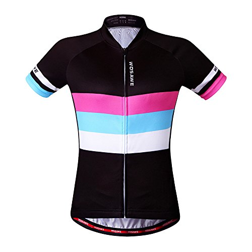 WOSAWE Women Short Sleeve Cycling Jersey ONLY, ColorShine, Size M