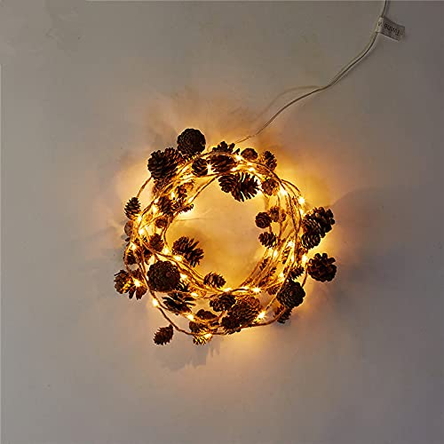 Cadena de luces LED para jardín, decoración de Navidad, conos de pino, cadena de luces LED con pilas, luces de hadas de Navidad, árbol de vacaciones y dormitorio decoración del hogar