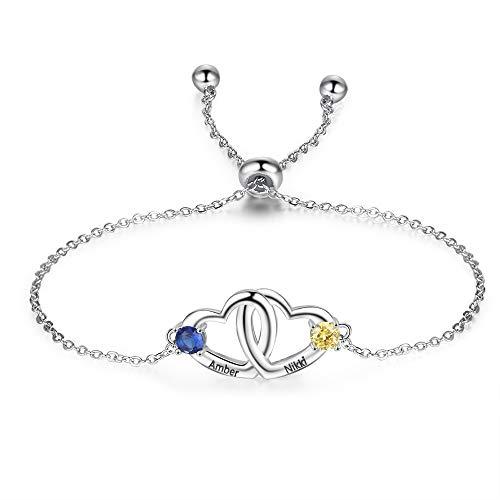 Pulsera personalizada para mujer con 2 nombres grabados y piedra de nacimiento con cadena ajustable, pulsera de corazón, regalo para cumpleaños, Navidad