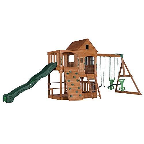 Backyard Discovery Spielturm Holz Hillcrest | XXL Spielhaus für Kinder mit Rutsche, Schaukel, Sandkasten, Kletterwand und Picknicktisch | Stelzenhaus für den Garten