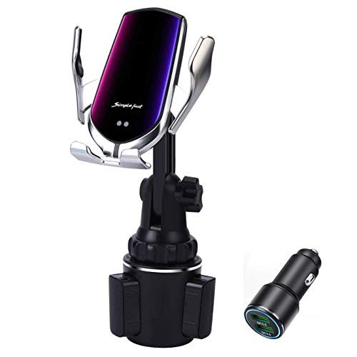 Car Cup Wireless Charger Holder,10W Qi Fast Charging Auto-Clamping Car Phone Charger Mount for iPhone 12/12Pro/SE/11/11Pro/11Pro Max/XS Max/XS/XR/X/8/8+, Samsung S20/S10 /S9/S8/Note10/Note9,LG,Pixel