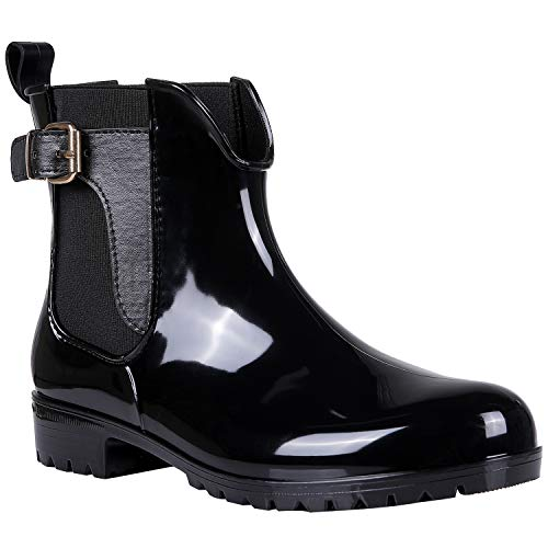 Womens Black Ankle Rain Boots Shiny Waterproof Belt Boots BK36
