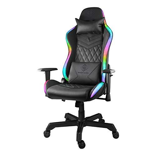 Deltaco Zocker - Silla de Gaming para Ordenador con reposabrazos y Almohada, Silla de Oficina ergonómica, con iluminación RGB, Piel sintética, 120 kg, Color Negro