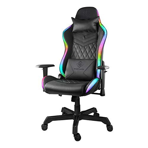 Deltaco Gaming Stuhl Gamer Chair - PC Gamingstuhl mit Armlehne Rückenlehne und Kissen, Zocker Sessel Bürostuhl Stühle ergonomisch belastbar, Gaming-Stuhl RGB Beleuchtung, Kunstleder 120 Kg Schwarz