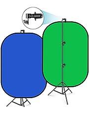 Neewer 12 cm x 18 cm chromakey niebiesko-zielone składane tło z zestawem stojaka: 2 w 1 odwracalne tło pop up zielony ekran niebieski zielony panel do studia fotograficznego nagrywania wideo, transmisji na żywo itp.