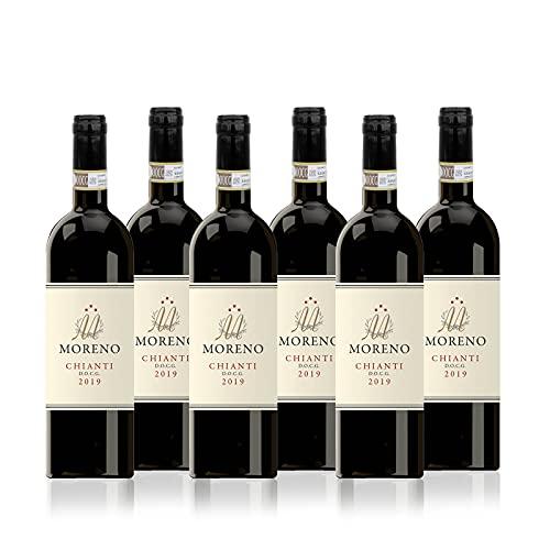 MORENO CHIANTI D.O.C.G. 2019 - Vino Rosso - Confezione 6 Bottiglie da 0,75l
