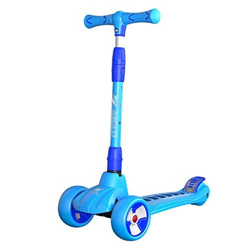 Patinete Scooters de Niños Pequeños para Niños Y Niñas Altura Ajustable PU Ruedas Intermitentes para Niños de 2 A 14 Años Aprenda A Dirigir (Color : Blue)