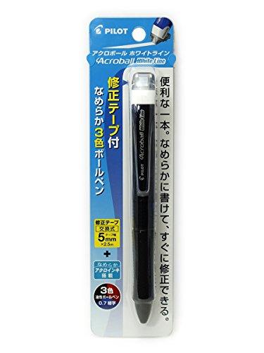 パイロットアクロボールホワイトライン3色0.7mm修正ボールペンテープクリア/ブラック(BKAW-60F-CB)