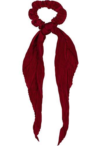 styleBREAKER Damen Haargummi plissiert mit Schleife im Retro Style, elastisch, Scrunchie, Zopfgummi, Haarband 04027014, Farbe:Bordeaux-Rot