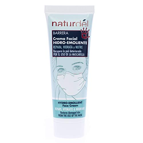 NATURDEL Crema Facial Hidro-emoliente. Nutre, Repara y Calma la Piel Seca o Dañada por El Uso de las Mascarillas, Incoloro, 75 Mililitro