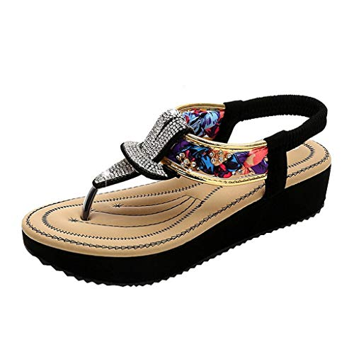 ✿Eaylis Damen Sandalen Massive Sohle Aus Strass Im Ethno-Stil Sommer Strand Schuhe Hausschuhe Stilvoll und elegant