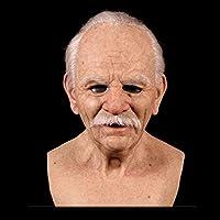 ASDSH ハロウィーン老人ラテックスヘッドドレス おじいちゃんラテックスマスク 老人マスクヘッドギア ハロウィンマスク ハロウィーン、イースター、カーニバル、イベント、ロールプレイングなどに適しています。